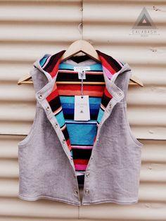 CALABASH DESIGN - Hooded Serape Vest.