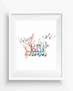 Trees Watercolor music notes and hummingbirds Digital Prints Trees Decor Music Home Decor Instant Download Jpeg