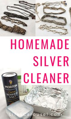 Make your own homemade silver jewelry cleaner. This simple DIY jewelry cleaner u. - Make your own homemade silver jewelry cleaner. This simple DIY jewelry cleaner uses just 4 ingredie - Homemade Silver Cleaner, Homemade Jewelry Cleaner, Cleaners Homemade, Diy Cleaners, Natural Silver Cleaner, Household Cleaning Tips, Diy Cleaning Products, Cleaning Hacks, Deep Cleaning