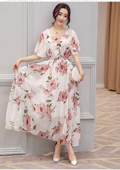 4ff91c22f406 Honwenle Womens Vintage Round Neck Floral Printed Casual Swing Tea Chiffon  Maxi Dress