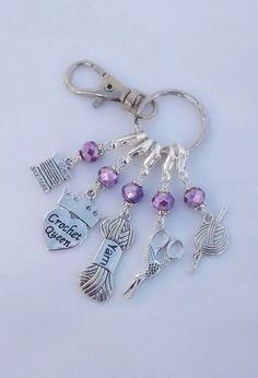 Crochet Stitch Markers Lilac Beads 5pcs & Keyring in Purple Organza Gift Bag