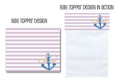 baggie toppers, favor bag toppers, printable party decor, nautical baby shower, printable party, nautical, girl baby shower, baby on board, Party Box Design