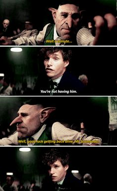 Never negotiate with a goblin who is after your cute little Niffler  - Fantastic Beasts and Where to Find Them