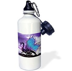 3dRose wb_4145_1 Fairytale Dragon Sports Water Bottle 21 oz White *** Click on the image for additional details.(This is an Amazon affiliate link)
