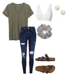 """""""Untitled #75"""" by faithjones1223 on Polyvore featuring LE3NO, Madewell, River Island, Birkenstock and Poppy Finch"""