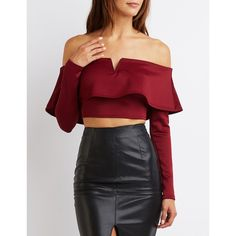 Charlotte Russe Tiered Off-The-Shoulder Crop Top ($20) ❤ liked on Polyvore featuring tops, burgundy, burgundy top, red off the shoulder top, burgundy crop top, plunge crop top and long tops