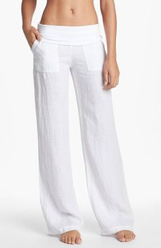 Solow Wide Leg Linen Pants - I think I just might be able to make something similar, in a different color of course Wide Leg Linen Pants, White Linen Trousers, Linen Pants Women, Wide Pants, Pants For Women, White Beach Pants, Linen Beach Pants, Lounge Pants, Comfy Pants