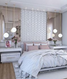 20 Decorated Feminine Bedroom Ideas to Get Inspired., 20 Decorated Feminine Bedroom Ideas to Get Inspired. Bedroom Makeover, Home Bedroom, Luxurious Bedrooms, House Rooms, Home Decor, House Interior, Modern Bedroom, Girl Bedroom Decor, Master Bedrooms Decor
