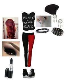 """""""Terra's Outfit #1"""" by lil-black-luna ❤ liked on Polyvore featuring moda, Converse, Trend Cool, Sally&Circle, M.A.C ve Vans"""