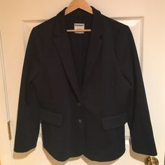 Gently used! Old Navy Navy Blue Blazer Only worn twice for interviews, looks great on and very trendy! Soft material and no lining. Polyester, Rayon, and Spandex. Old Navy Jackets & Coats Blazers