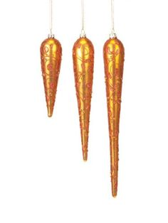 "$99.99-$104.99 Pack of 18 Rich Plum Copper Glittered Icicle Glass Christmas Ornaments 6"" - 12"" - From the Rich Plum Collection Item #44609 Add distinction to your holiday decor with these glittered Christmas icicle ornaments Color:  copper Fully dimensional ornaments Come ready-to-hang on a gold cord Dimensions: 6""-12""L Material(s): glass/metal/glitter Pack of 18 ornaments - includes 6 of each s ..."
