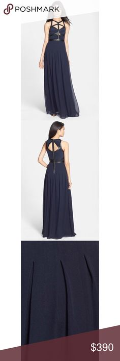 Selling this NWT Rebecca Taylor Caged Silk Navy Blue Gown 4 on Poshmark! My username is: denapeanuts. #shopmycloset #poshmark #fashion #shopping #style #forsale #Rebecca Taylor #Dresses & Skirts
