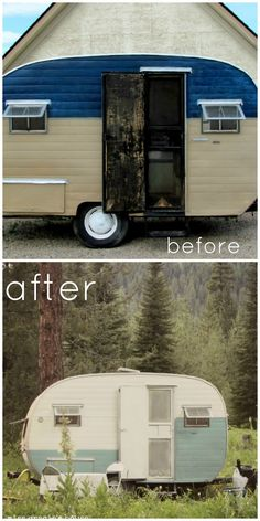Camper before & after miss gracie's house: July 2012 I want to make over my own vintage trailer SO bad! Living Vintage, Vintage Rv, Vintage Caravans, Vintage Travel Trailers, Vintage Campers, Camping Glamping, Camping Life, Old Campers, Camper Makeover