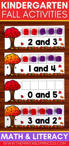 These hands-on, interactive and no-prep Kindergarten math and literacy centers are perfect for fall! Students will be engaged in these centers as they practice beginning sounds, match upper and lowercase letters, build sight word sentences, count and compare numbers, add, subtract and more! Subtraction Activities, Kindergarten Math Activities, Math Literacy, Counting Activities, Alphabet Activities, Literacy Centers, Sight Word Sentences, Teaching Sight Words, First Grade Teachers
