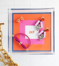 Pencil Shavings Studio Lucite Tray - Colorblock Monogram