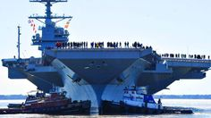 The USS Gerald R. Ford is the first new aircraft carrier design in 40 years. This powerful addition to the US Navy is undergoing sea trials before it can be deployed Ford America, Uss America, Ford Aircraft Carrier, Uss Gerald R Ford, American Aircraft Carriers, Naval Station Norfolk, Air Force, Navy Coast Guard, New Aircraft