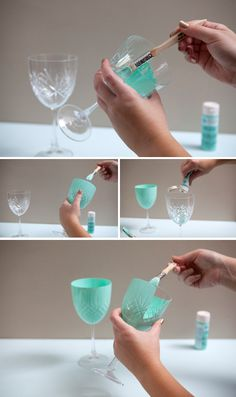 DIY painted mason jars tutorial DIY hand painted glass jars using Martha Stewart Crafts Paint by SomethingTurquois. Crafts With Glass Jars, Wine Bottle Crafts, Mason Jar Crafts, Bottle Art, Diy Jars, Painted Wine Glasses, Painted Mason Jars, Decorated Wine Glasses, Painting Glass Jars