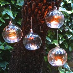 Set Of Four Hanging Tealight Bubbles
