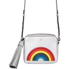 ANYA HINDMARCH Rainbow Metallic Leather Shoulder Bag ($1,019) ❤ liked on Polyvore featuring bags, handbags, shoulder bags, silver, metallic shoulder bag, bow purse, bow handbag, leather handbags and white shoulder bag