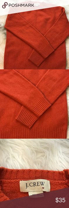 J.Crew orange wool crewneck sweater J.Crew classic orange crew neck 100% wool sweater in excellent condition. Perfect for fall J. Crew Sweaters Crew & Scoop Necks