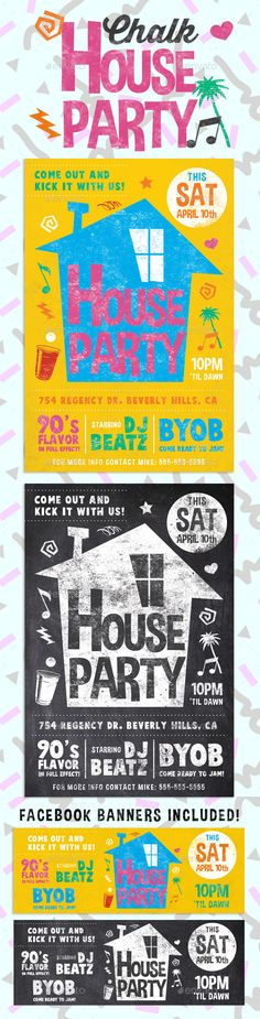 Chalk House Party Retro Flyer - PSD Template • Only available here! ➝ https://graphicriver.net/item/chalk-house-party-retro-flyer/13632053?ref=pxcr