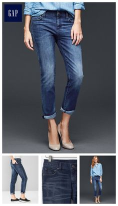 "Looking to try the ""boyfriend jean"" look, but with wider hips, maybe something like these ""girlfriend jeans"" might be a bit better option."