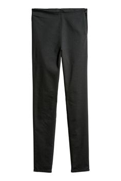 High-waisted trousers in washed stretch twill with a concealed zip at one side and slim legs. Slim Fit Pants, Slim Legs, Cigarette Trousers, H&m Online, Fashion Company, Workout Pants, Black Pants, Fashion Online, Black Women