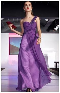 A-line One Shoulder  Chiffon Floor-length Wedding Guest Dresses 06953 - HoneyDress.com US$110.20
