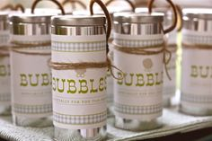 What kind of favors can you give at a birthday party that the little guests will really love? Purchase little canisters, design labels, and use twine and pipe cleaners to top them off. Buy a giant bottle of bubbles to fill them. Bubble Birthday, Mom Birthday Gift, Boy Birthday Parties, 7th Birthday, Little Man Party, Thing 1, Birthday Party Favors, Birthday Ideas, Baby Party