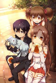 Kirito, Asuna, and Silica
