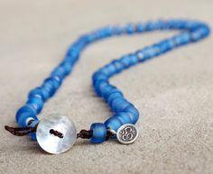Blue bracelet or necklace Sky blue matte glass by ThePillowBook