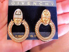 Vintage GIVENCHY Logo Doorknocker Gold Tone Ribbed Hoop Dangle Drop Clip Earrings Women's High Fashion Costume Jewelry by VintagePolice4U on Etsy