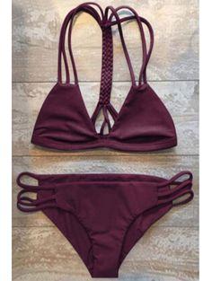 High-Cut Hollow Out Bikini Set WINE RED: Bikinis | ZAFUL | Swimsuit | Swimwear | Bathing suit