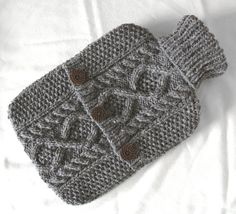 Pebble grey hot water bottle sweater / cover  by ACrookedSixpence, £29.00