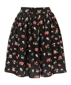 Black Pattern (Black) Black Ditsy Floral Skater Skirt | 279266009 | New Look