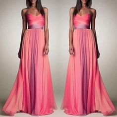 Pink Patchwork Bandeau Pleated Boat Neck Sexy Maxi Dress