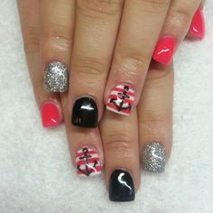 Hot pink and black shellac with silver glitter stripes and amchors