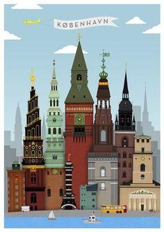 Illustrations Vintage, Illustrations Posters, Aalborg, Copenhagen Denmark, Copenhagen City, Copenhagen Travel, Photos Voyages, Travel Illustration, Aarhus