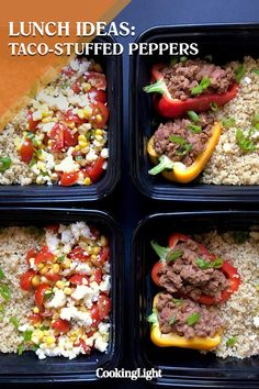 Set yourself up for healthy eating success with nearly a week's worth of packed-up lunches. A little bit of lean ground beef goes a long . Taco Stuffed Peppers, Afternoon Delight, Corn Salads, Pinto Beans, Lunch Ideas, Lunch Recipes, Lunches, Ground Beef, Tacos