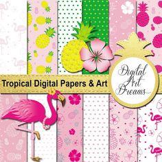 Tropical Decor Clipart  Flamingo Image  by DigitalArtDreams