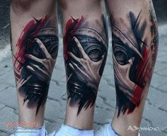 Realistic mask and hand tattoo on legs.. Click on the pic for more #tattoos