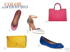 Lançamento Arezzo: coleção Alto Verão 2013 / Summer 2013. | Sapatilhas coloridas, bolsa pink e clutch amarela.