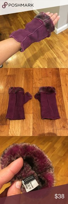 Shearling Fingerless Gloves Purchased from Barneys New York - real shearling (100% sheepskin) - beautiful burgundy plum color - Suede outer - great condition, like new. Barneys New York Accessories Gloves & Mittens