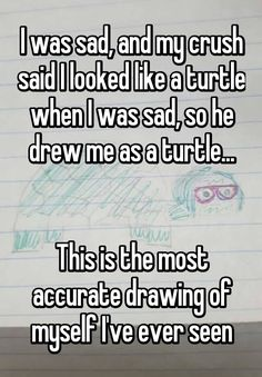 """""""I was sad, and my crush said I looked like a turtle when I was sad, so he drew me as a turtle...   This is the most accurate drawing of myself I've ever seen"""""""