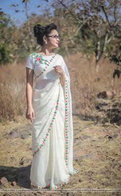 Half Saree Lehenga, Saree Look, Designer Sarees Wedding, Saree Wedding, Kerala Saree Blouse Designs, Farewell Sarees, Saree Poses, Chiffon Saree, Silk Chiffon
