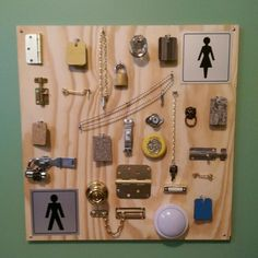 The busy board we made yesterday - keeps our son entertained and challenged with fine motor activities, mounted easily to the wall. Locks, hooks, chains, free flooring samples, knobs, bolts, hinges and switches.