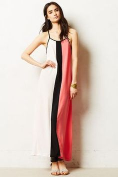 Colorblocked Stripes Maxi Dress
