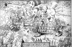 Der Eroberung Magdeburgs durch kaiserlich-ligistische Truppen unter Tilly 1631 folgte ein großes Massaker. Zum Symbol für die Kriegsverbrechen des katholischen Lagers wurde es aber erst durch die Berichterstattung gemacht – Kupferstich von Matthäus Merian (1593-1650)
