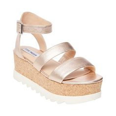 858297e0d48 Bamboo Leather Double Band Open Toe Slingback Flatform Wedge