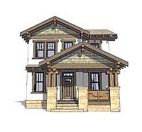 Craftsman Bungalow for Narrow Lot